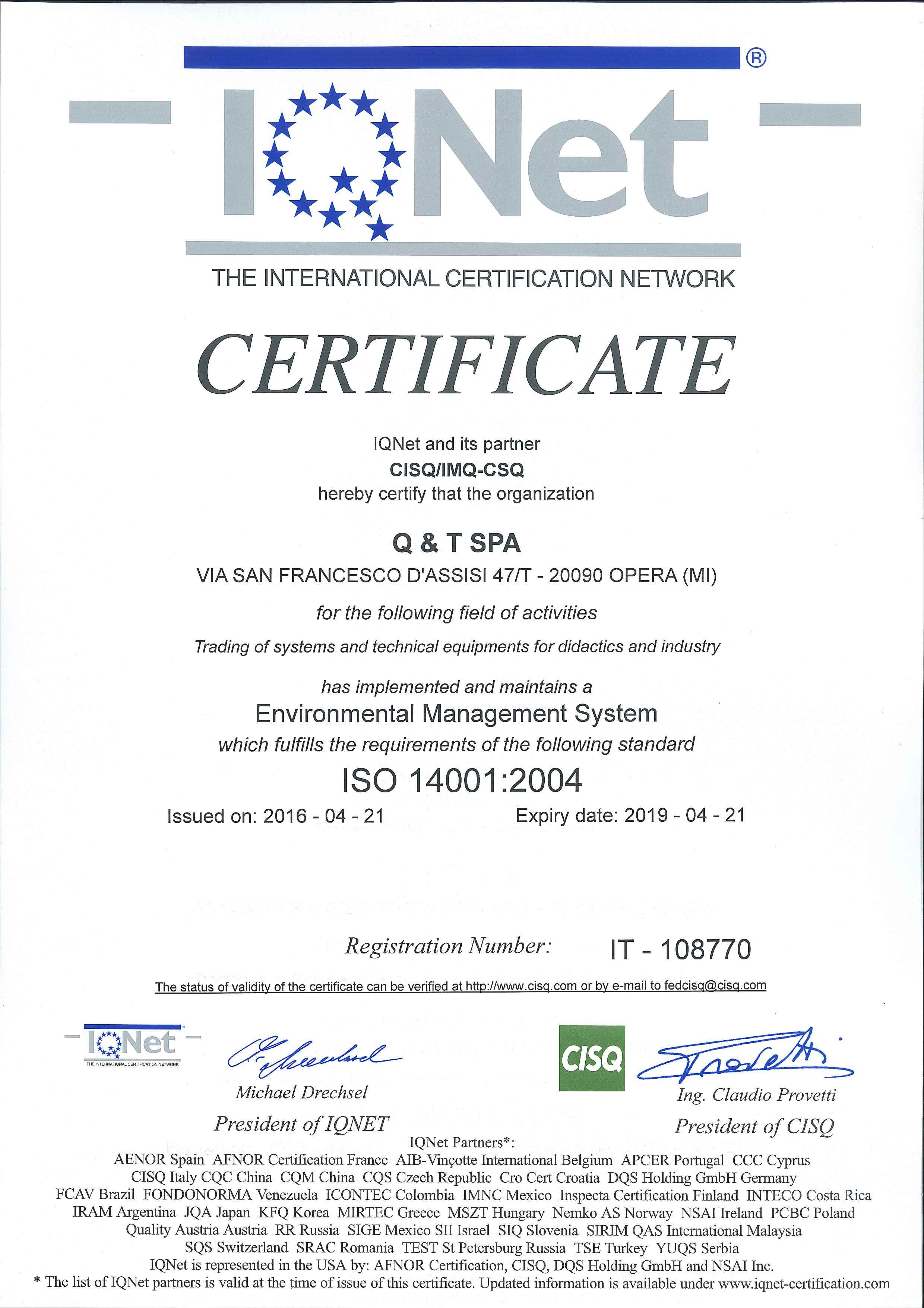 IQNet – ISO 14001